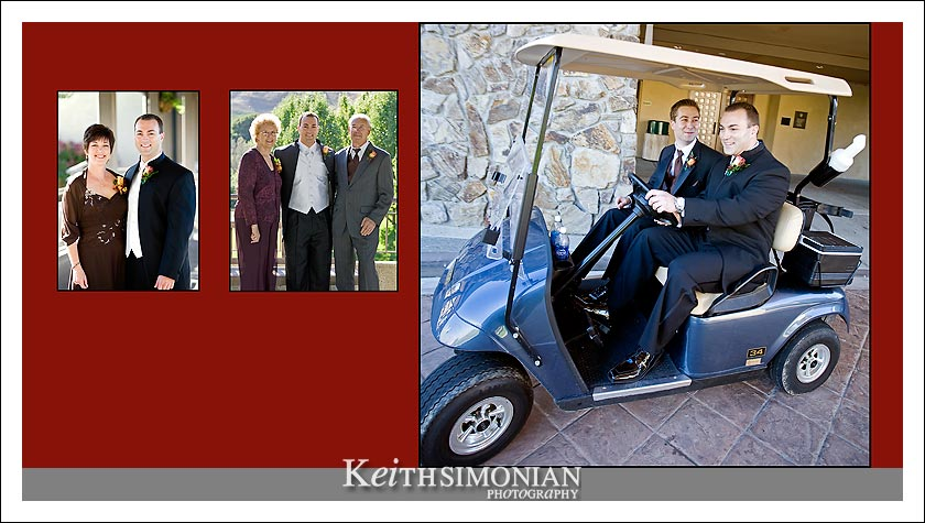 Best man and groom drive around in golf cart photo