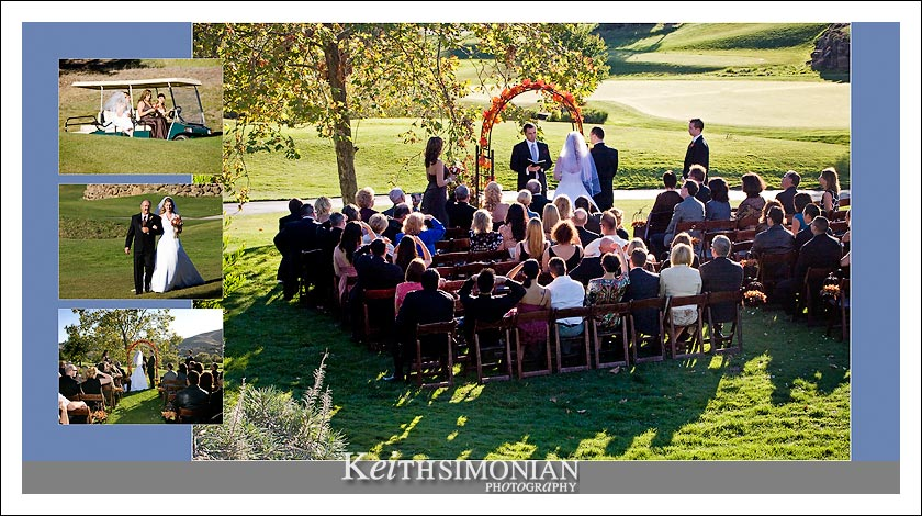 Sunset wedding ceremony on 9th hole at Hiddenbrooke golf club in vallejo