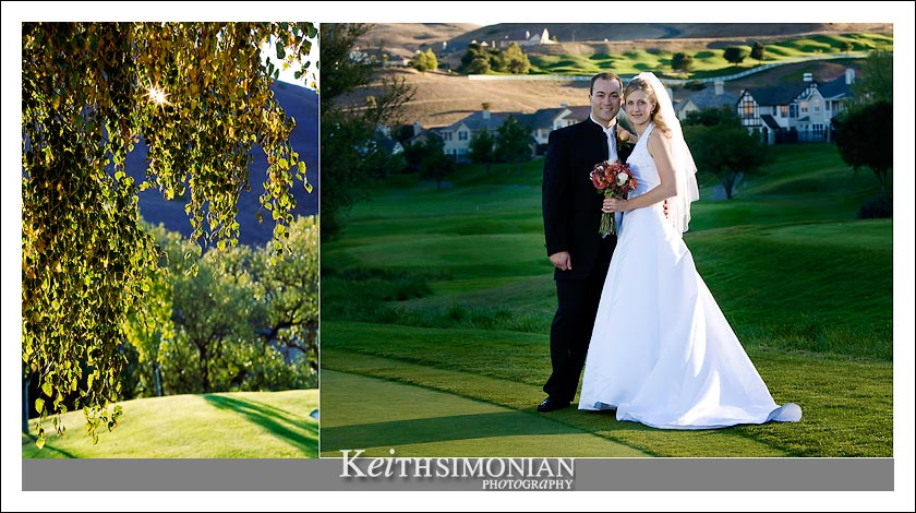 Bride and groom pose for portrait on the Hiddenbrooke golf course in Vallejo, CA