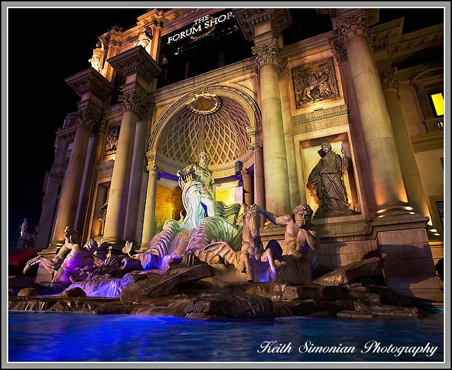 Fountain at night outside the Forum Shops in Las Vegas
