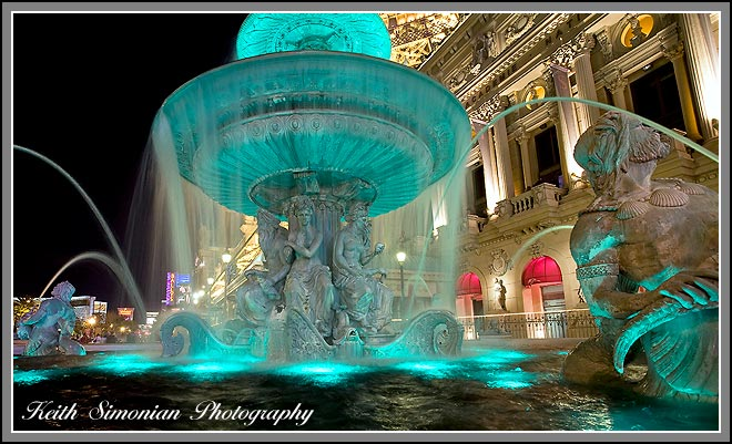 Night time view of fountains outside the Paris Hotel in Las Vegas