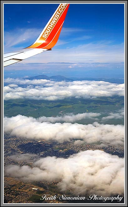 San Francisco Bay are view from the sky in Southwest Airlines jet.