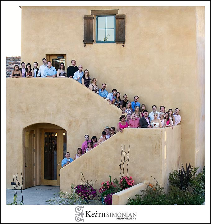 With a intimate wedding at the Nicholson Ranch winery all the guests were photographed on the stairs.