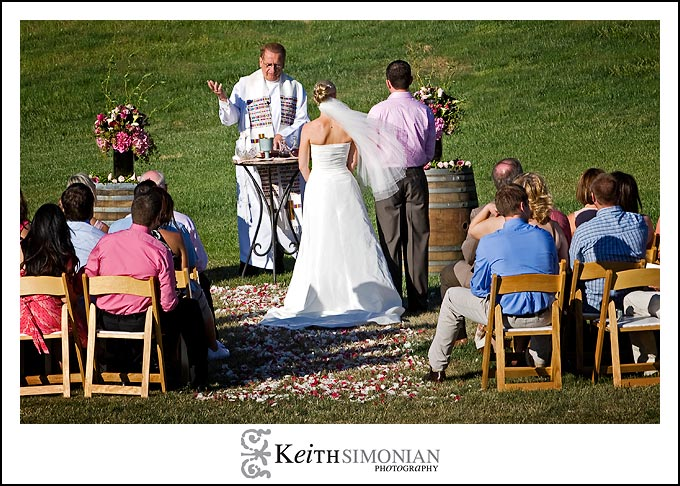 Bride and Groom celebrate Catholic mass at the Nicholson Ranch winery.