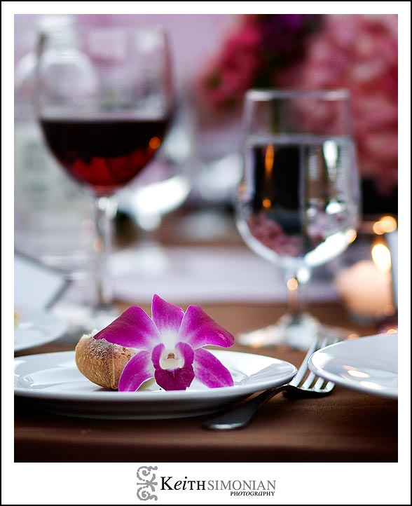 Guests are treated to Red wine and flower for the wedding reception at the Nicholson Ranch Winery.