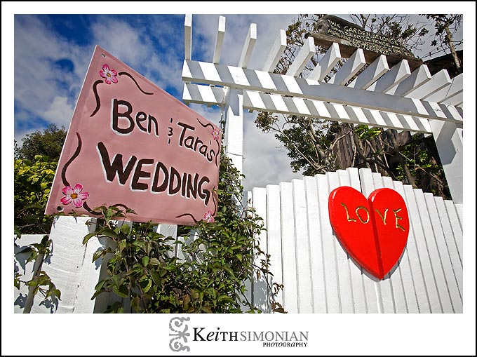 A big red heart greats guests to the wedding ceremony at the San Benito House in Half Moon Bay