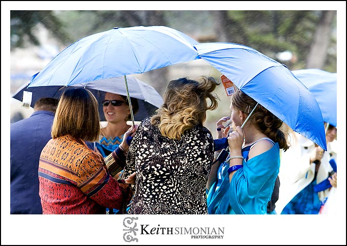 A little rain for the outdoor wedding ceremony at Lover's Point in Pacific Grove