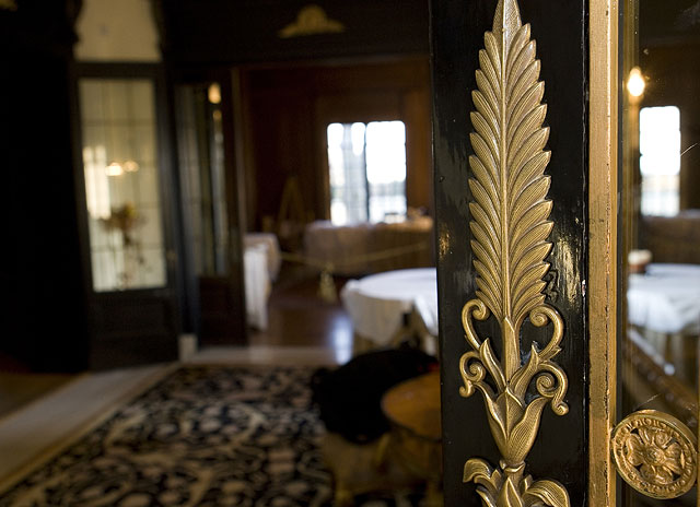 Beautiful detail on the front doors at the historic Grand Island Mansion