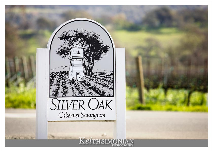 Sign welcoming guest to the Silver Oak Cellars in Oakville, California