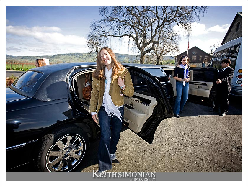 Cassie steps out of the Limo - Wine tasting made easy, with a limousine.