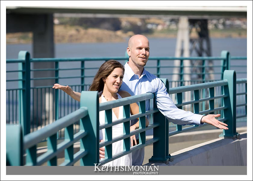 Cassie and Ben on the walkway that leads to new Carquinez Bridge.