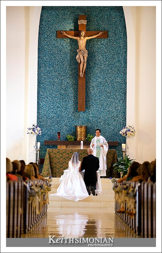 Wedding ceremony at Our Lady Queen of Angels church