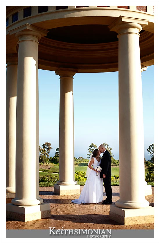 Cassie and Ben inside Palladian inspired rotunda which overlooks the Pacific Ocean