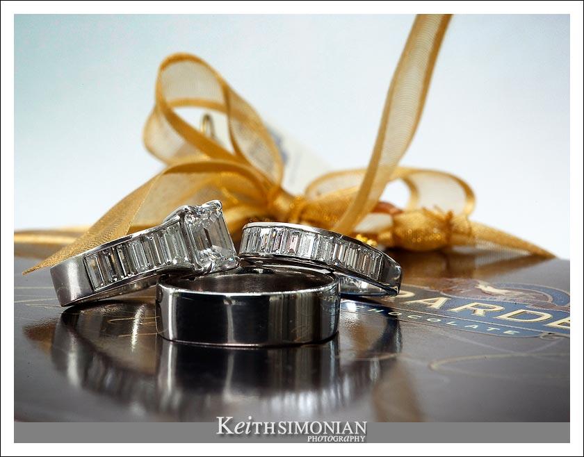 Wedding rings on a box of Ghirardelli chocolates