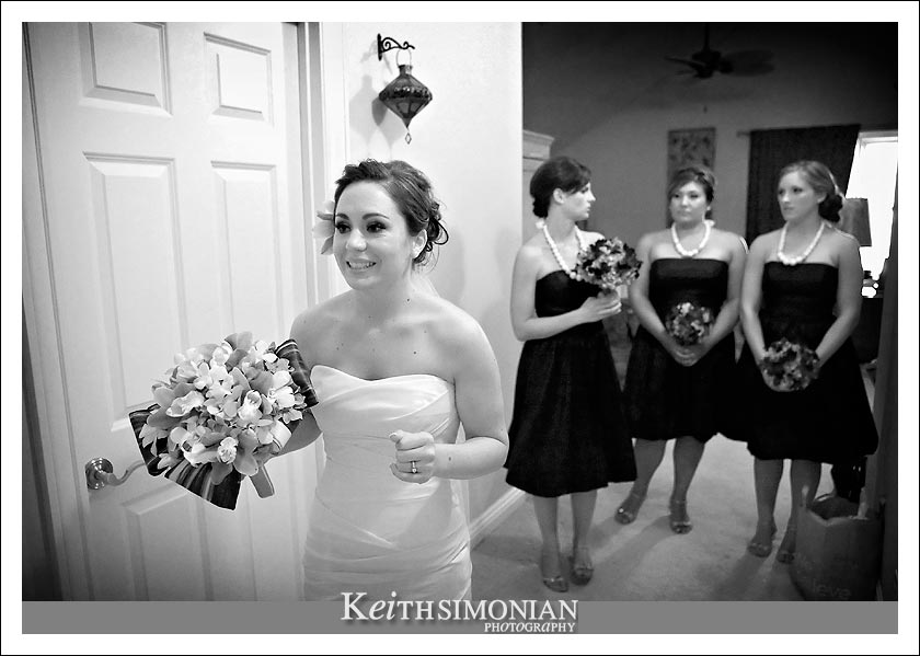 Kirsten and the Bridesmaids in a black and white photo