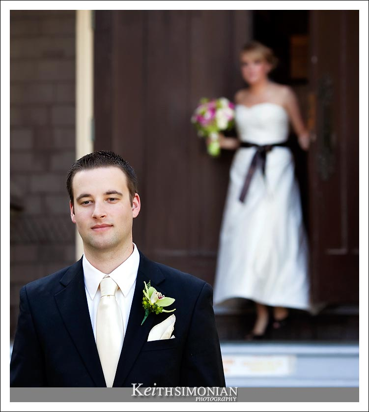 The first time - Kevin waits outside the chapel to see Amanda in her wedding dress for the first time