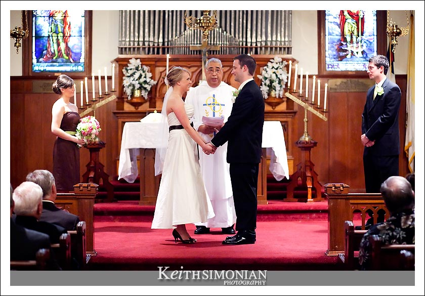The wedding ceremony at St Peter's Chapel on Mare Island