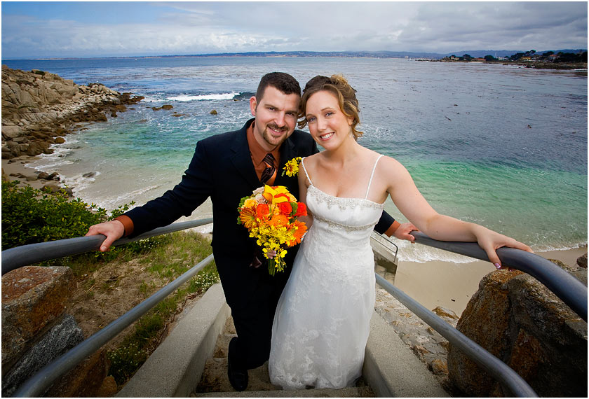 Bride and Groom above the beach in Lover's Point - Pacific Grove - Monterey