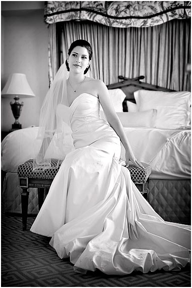 Bride in luxery suite at the Fairmont Hotel in San Francisco