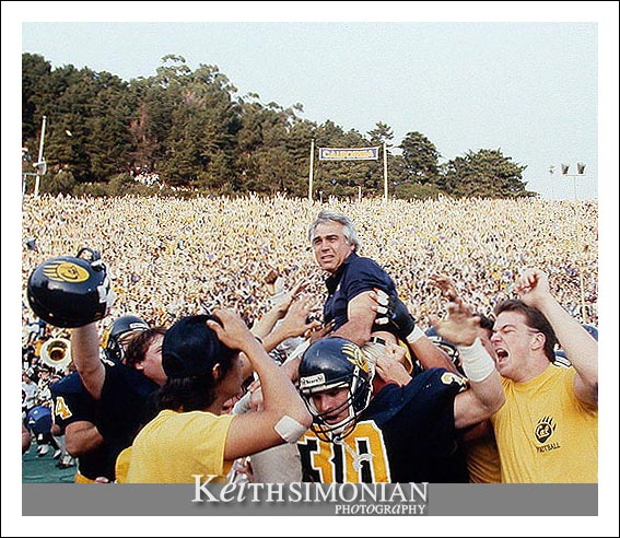 Cal head coach Joe Kapp is carried of the field after defeating Stanford in the 89th Big Game at Memorial Stadium in Berkeley.
