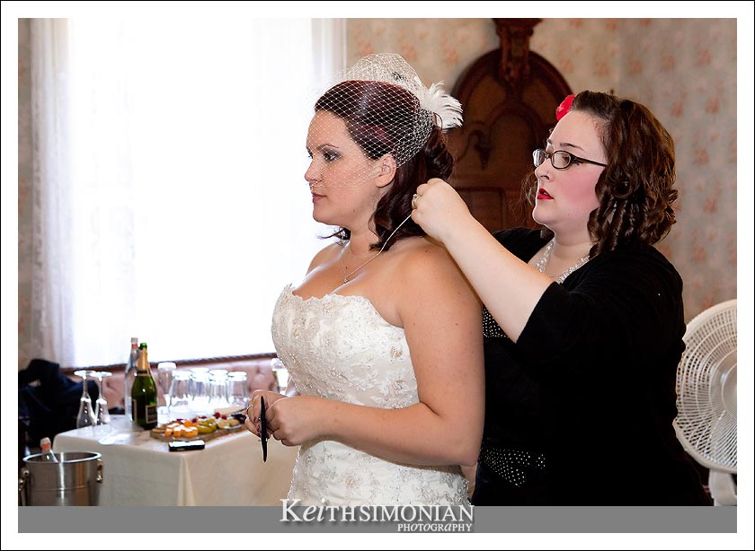 Karen gets ready before the wedding.