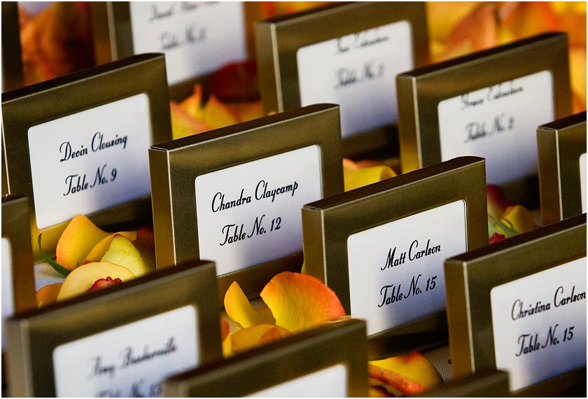 Table seating placecards and flowers