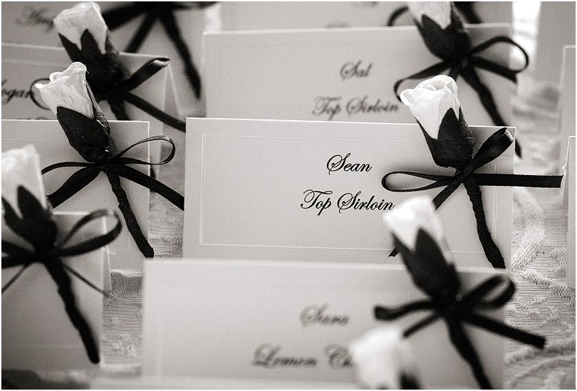 Table placecards and menu choice