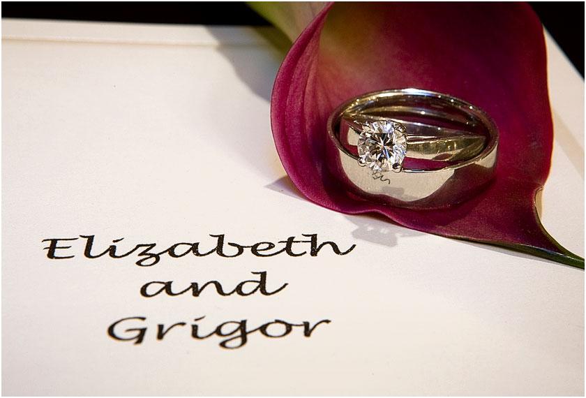 Wedding Rings on red flower