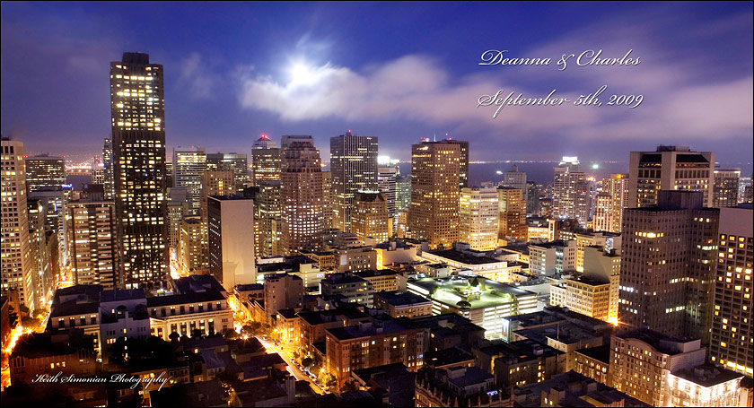 Album Cover - Full moon over San Francisco skyline from Top of Mark