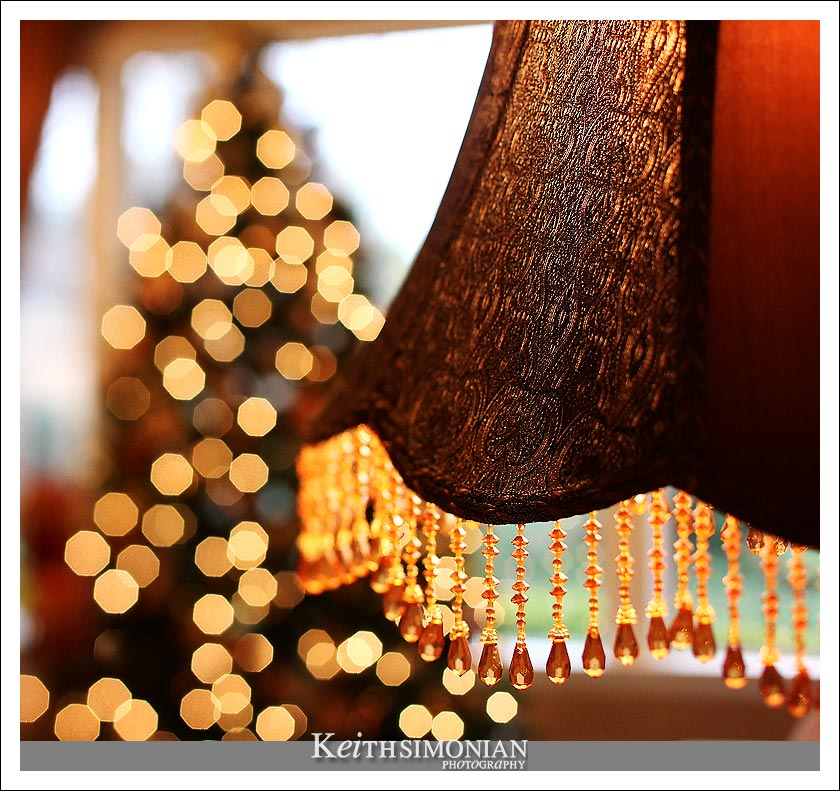 Lamp with Christmas tree in the background.