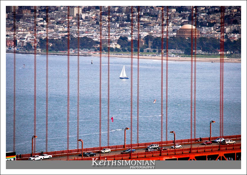 Crissy field as seen from the Marin side of the Golden Gate Bridge