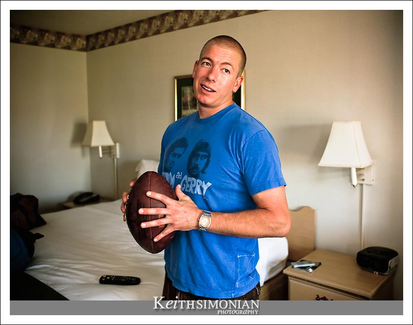 Groomsmen with football before getting ready