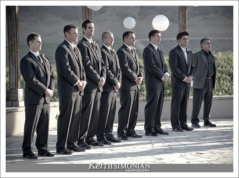 The guys waiting for the bride to arrive