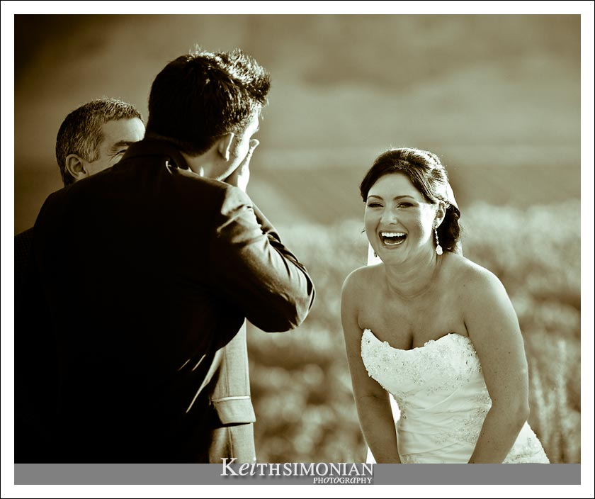 A moment of levity during the wedding ceremony at Clos LaChance winery in San Martin