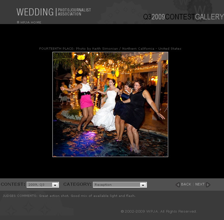 WPJA Third Quarter Wedding Contest - 14th place - Reception Category
