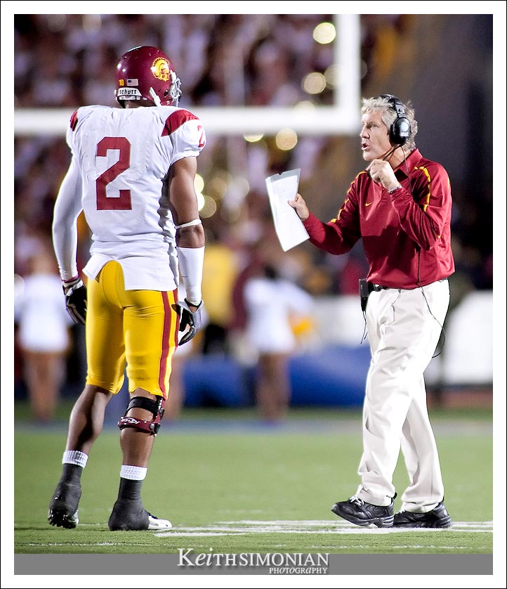 No. 2 Taylor Mays talks with USC head coach Pete Carroll during a 2009 football game with the University of California at Berkeley Golden Bears.