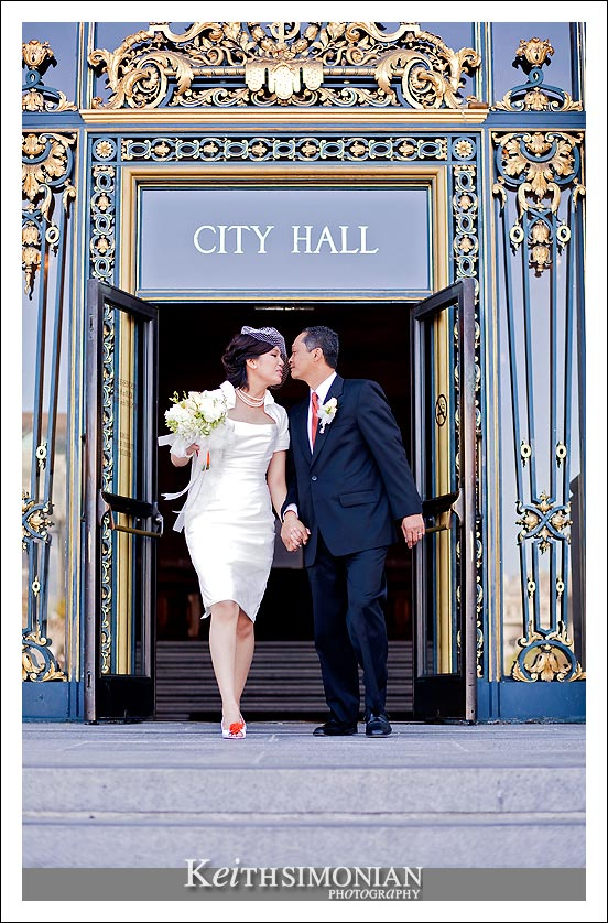 Just married couple exit  San Francisco city hall
