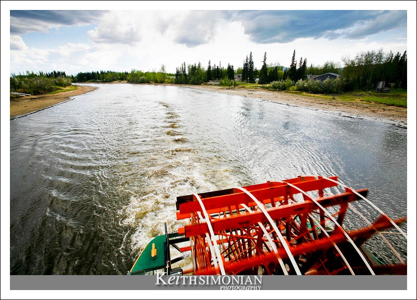 Paddle wheel of Riverboat Discovery on the Chena River in Fairbanks Alaska
