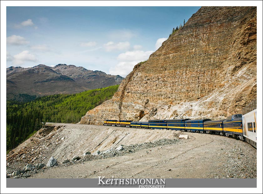 View of Alaska railroad engines from luxurious Royal Caribbean Cruise line glass-domed traincars