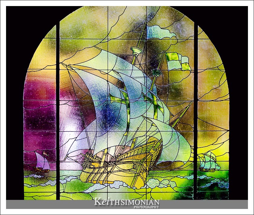 A stained glass window in part of the Villa Montalvo charm