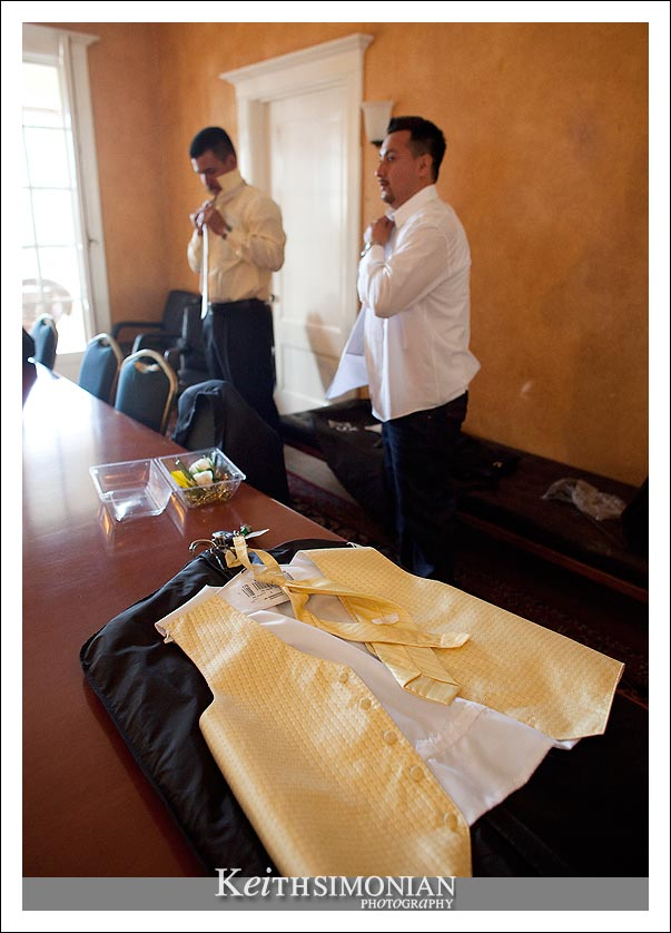 The groom and the best man getting ready for the wedding