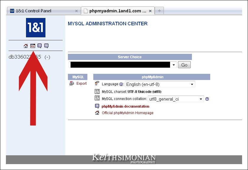 MYSQL Administration Center display on 1and1.com control panel