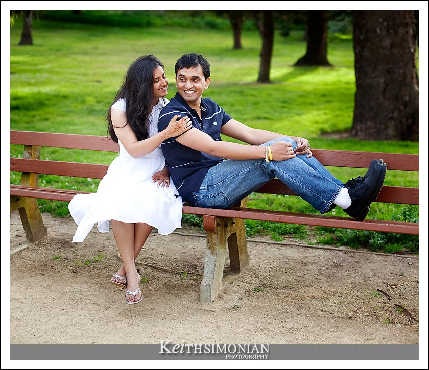 Couple on park bench in San Francisco photo