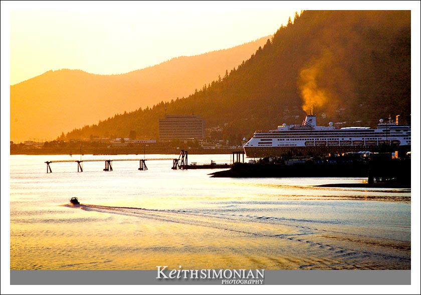 Sunset view of the Holland American cruise ship Zaandam about to steam out of Juneau, Alaska