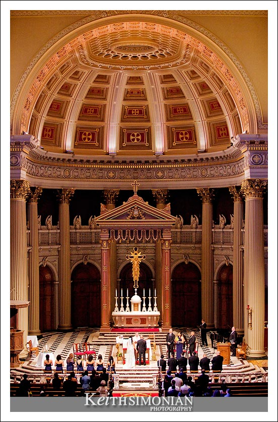 Wedding ceremony at St Ignatius Catholic Church in San Francisco