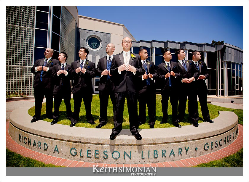 Groom, Best Man, and Groomsmen pose for photo outside the school library at the University of San Francisco ( USF )