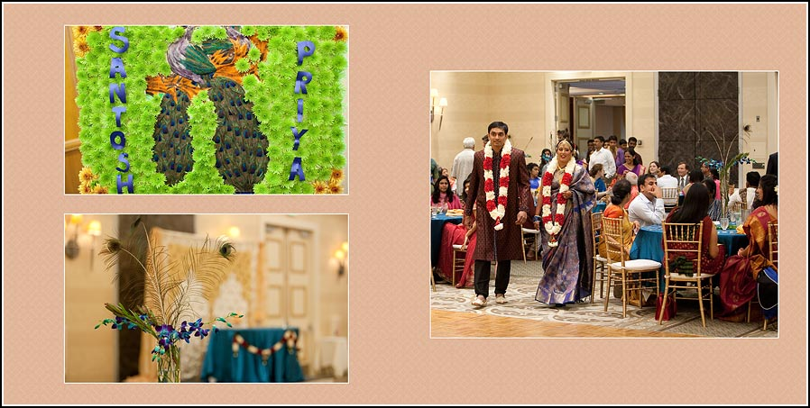 Bride and groom enter reception at the Fremont - Newark Hitlon Hotel in California