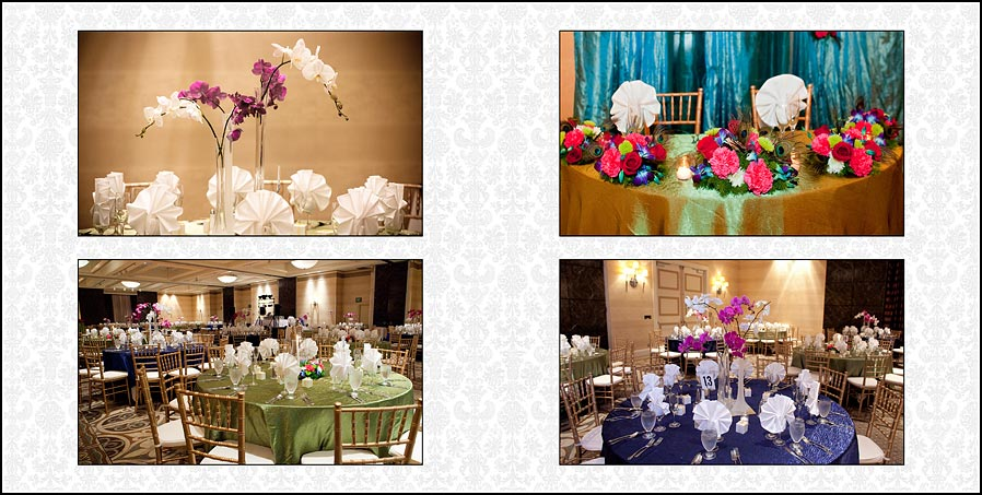 Flowers adorn the tables at the wedding reception in the Fremont - Hilton Hotel in California