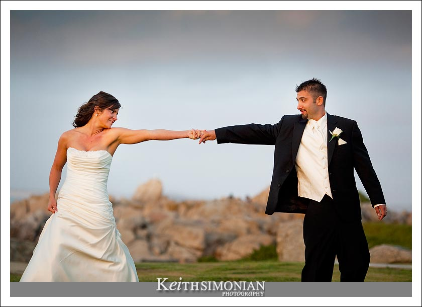 Bride and Groom at Lovers Point in Pacific Grove, California