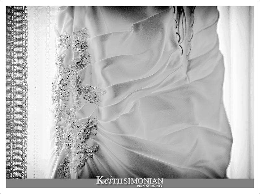Black and white photo of the wedding dress